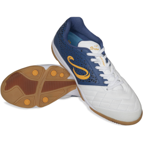 USHUAIA PRO Futsal Shoe - White/Navy/Orange - Size US 8